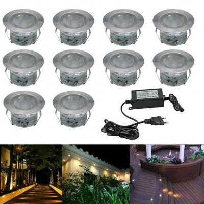 Kit tout inclus 10 Luminaires à encastrer IP65 pour terrasses en bois, murs, plafonds et plinthes. 30 mm LED blancs