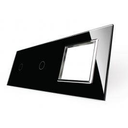 Livolo Panneau Verre Cristal - Double interrupteur + prise
