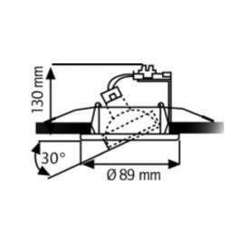 Collerette orientable pour plafond tendu aluminium brossé R55055 Dimensions