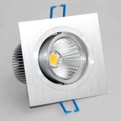 Downlight COB LED carré inox brossé